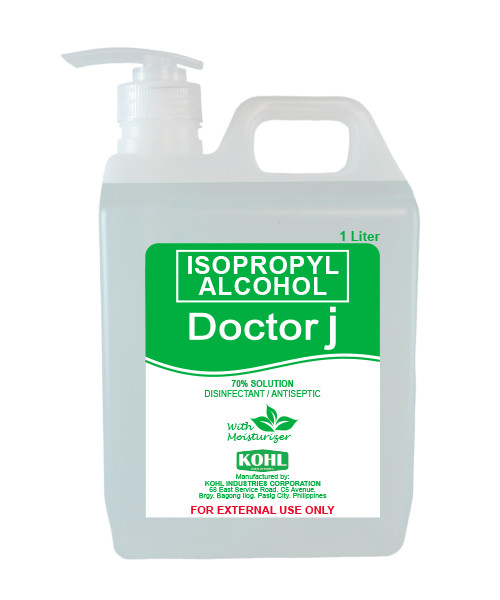 DOCTOR J 70% Isopropyl Rubbing Alcohol 1 Liter